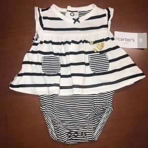 NEW! Carter's Girls Black White Striped Romper-NB